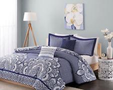 Intelligent Design - Isabella Navy Blue & White - 5 pc Comforter Set - Queen