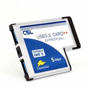 CSL USB 3.0 Super Speed PCMCIA Express Card Karte 54mm 2 Port Windows 10
