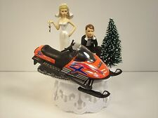 Got the Key Die-Cast ORANGE SNOWMOBILE Bride and Groom WEDDING CAKE TOPPER