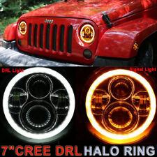 "2X7"" LED Headlights Halo Angel Eyes signal DRL Turn Jeep 97-17 Wrangler JK LJ TJ"