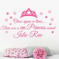 Personalised Once upon a time Princess quote wall sticker, Girls bedrooms