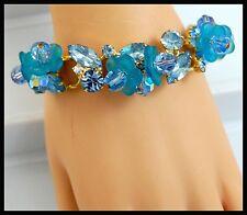 Hard to Find Vintage Juliana Delizza & Elster D&E Blue FROSTED PETALS Bracelet