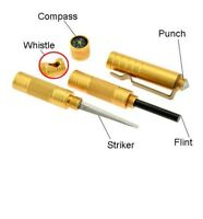 5-in-1 Compact Survival Tool Compass Flint Whistle Striker Punch GOLD