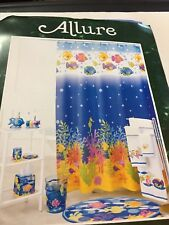 ALLURE TROPICAL OCEAN FISH SEAHORSE CORAL FABRIC 100% COTTON SHOWER CURTAIN NEW