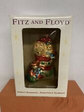 Fitz and Floyd Christmas Lodge Stocking with Toys Blown Glass Ornament W Box