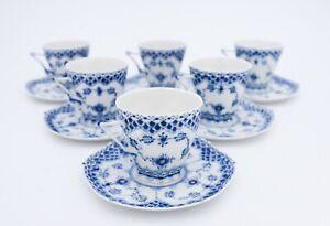 6 Cups & Saucers #1036 - Blue Fluted Royal Copenhagen Double Lace  - 1st Quality