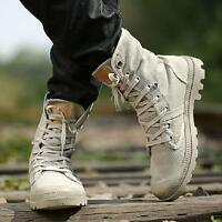 Men's Casual High Top Work canvas Ankle Boots Lace Up Cowboy Military Shoes Sz@@