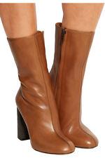 CHLOE Chunky Heel Midcalf Cognac Leather Zipper Boot  RUNWAY Bootie 39.5- 9