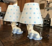 Set Of 2 Vintage Art Pottery Scottie Dog Lamp Westie Terrier With Shades