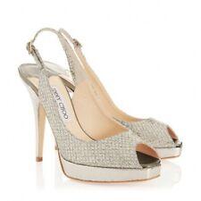 Jimmy Choo 'Clue' Champagne Silver Heels Sling Back Stiletto Size Uk 6 Eu 39