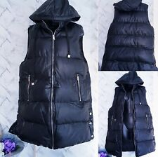Womens Hooded Quilted PU Gilet Waistcoat Padded Winter Vest Long Bodywarmer New