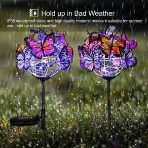 2 in 1 Garten Schmetterling Pfahllichter Solarleuchte Outdoor Spazierweg Dekor
