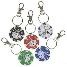 24 POKER CHIP KEYCHAINS Casino Quality Texas Hold 'Em Lucky Coin #ST30 Free Ship
