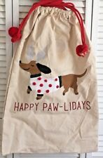 "3-D ""Happy Paw-Lidays"" Big Canvas Bag Dachshund Dog Christmas Holiday Gift Sack"