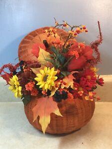 """Artificial Fall Floral Flower Arrangement In Orange Woven Pumpkin Basket  12x10"""""""