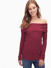 NWT $118 L SPLENDID Thermal Off Shoulder Cowl Long Sleeve Top Sweater Tee Red