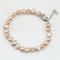 7-8mm Pink Baroque Pearl Bracelet 7.5inch Silver Buckle Flawless Accessories