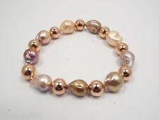 Honora Bronze Baroque FW Pastel Color Pearl & Rose Tone Bead Bracelet Mag Clasp