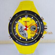 OHSEN Mens XL Military Analog&Digital Yellow Face Big Quartz Sport Wrist Watches