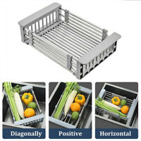Stainless Steel Dish Drying Rack Telescopic Drain Basket Kitchen Food Organizer