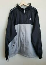 Adidas Jacket Nylon Windbreaker Lightweight Gray Black 3 Stripe Sleeve Lined XL