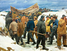 The Lifeboat is Taken through the Dunes A1+ by Michael Ancher Canvas Print