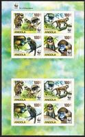 Angola WWF Monkeys Guenons MS of 2 sets imperforated MNH