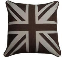 Union Jack Cowhide Leather & Canvas - Hand Stitched Luxury Cushion - 45cm x 45cm