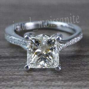 2.28 Ct Near White Princess Moissanite Engagement Party Ring 925 Sterling Silver