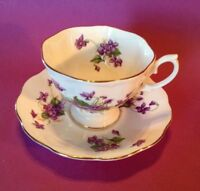 Royal Albert Teacup And Saucer - Purple Violets - Scalloped Gold Rims - England