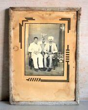 Old Antique Indian Sitting Men Rare Black & White Framed Camera Photograph