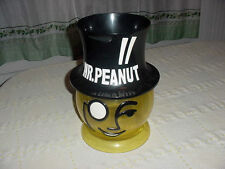Old Large Round Yellow Black Plastic Planters Mr Peanut Store Counter Display