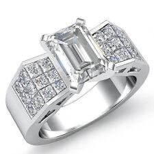 Consuelo Esmeralda Diamante Sólido Anillo de Compromiso GIA G SI1 14k Oro Blanco