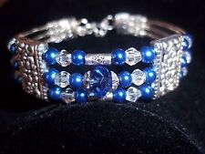 Fashion Tibetan Silver Clear Crystal & Blue Glass Pearl Bead CUFF Bracelet B-09