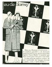 Publicité ancienne mode femme jeu de dames 1930 issue de magaziine