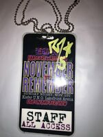 STAFF ECW NOVEMBER TO REMEMBER RVD HAND SIGNED ECW EVENT BACKSTAGE BADGE