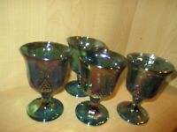 4 Indiana Carnival Glass Wine Water Goblets Iridescent Blue Harvest Grape & Vine