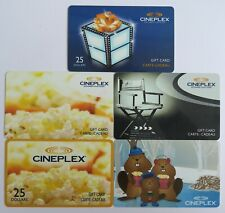 Cineplex Canada Gift Cards • Set of 5 Used Cards with No Cash Value