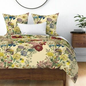 Botanical Wildflowers Summer Flowers Floral Sateen Duvet Cover by Roostery