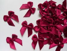 """Lots 50 Burgundy Satin Ribbon Bows Appliques DIY -1-1/8"""" (W)-R0026E"""