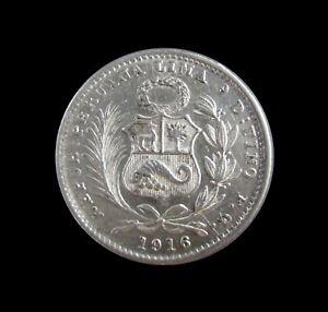 PERU DINHEIRO 1916 LIMA SILVER UNC KM 204.2 #7812#