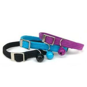 Cat Collar Kitten Safety Stretch Adjustable Nylon Cattitude Black Blue Purple