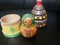 Vintage Russian Matryoshka Doll with wood house