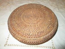 Vintage woven coiled multi colored basket with lid 10""