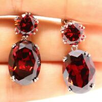 Gorgeous Red Ruby Earrings Drop Dangle Women Engagement Jewelry 14K White Plated