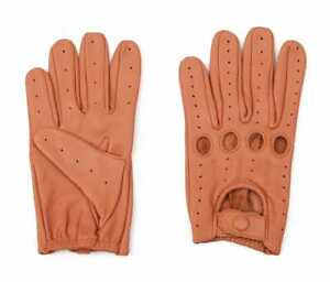 Tan Genuine Leather Driving Gloves