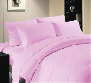 Pink Solid Split Corner Bed Skirt Choose Drop Length US Size 800 Count