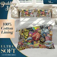 Graffiti Stickers Pop Art Colourful Quilt Doona Cover Set Fine Breathable Cotton