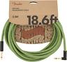 Fender Festival Instrument/Guitar Cable Eco-Friendly Pure Hemp, GREEN 18.6' ft