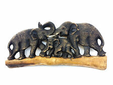 Vintage Hand Carved Wood Thailand Elephant Family Wall Hanging Home Decor Figure